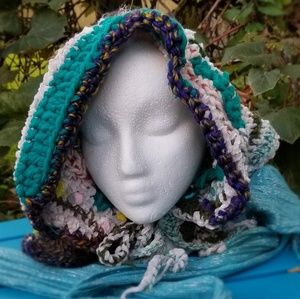 Winter Hood Freeform Crochet Hat Handmade